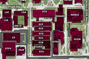 Campus map showing ECF building